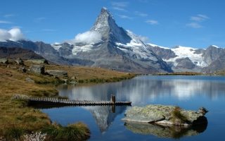Reflection of the Matterhorn in the mountain lake Riffelsee