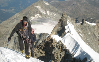 Mountain guide Aurel Salamin and son on the xxx ridge of the xxxxx