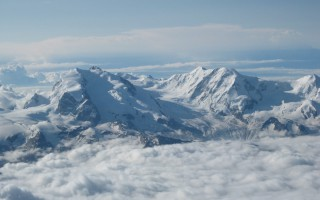 Top of the Weisshorn: view on the Monte Rosa massif with the Dufourspitze (4.634 m)